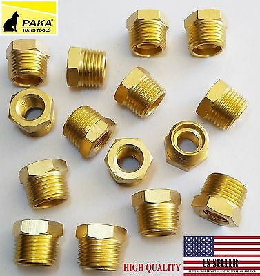 10pc-12 Male X 14 Female Npt Pipe Reducer Hex Bushing Adapter Brass Fitting
