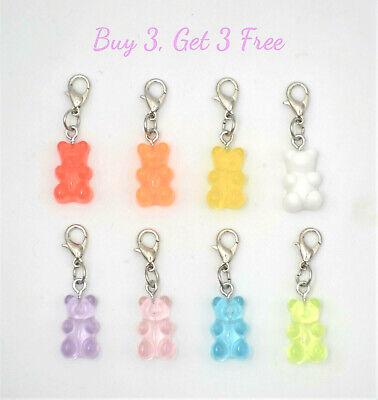Buy 3 Get 3 Free! Clip on gummy bear charm for bracelet, pendant-lobster clasp