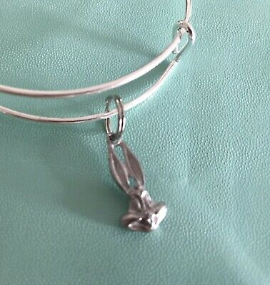 Bugs Bunny Pewter Charm Adjustable Women Girl Kids Silver Bracelet