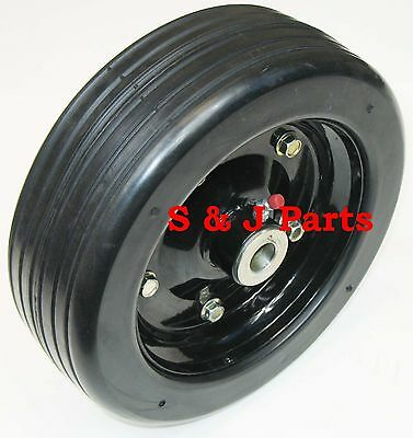 "10""x 3.25"" FINISH MOWER WHEEL - SOLID MOLDED TIRE - FITS 1/2"" AXLE"