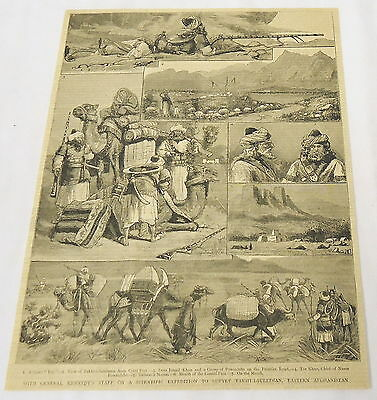 1884 magazine engraving ~ Gen Kennedy Expedition to TAKHT-I-SULEIMAN Afghanistan