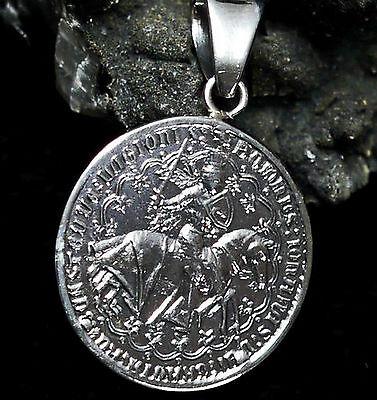 schöner Münzanhänger Tempelritter 925 Silber Ritter Amulett Mittelalter Templar