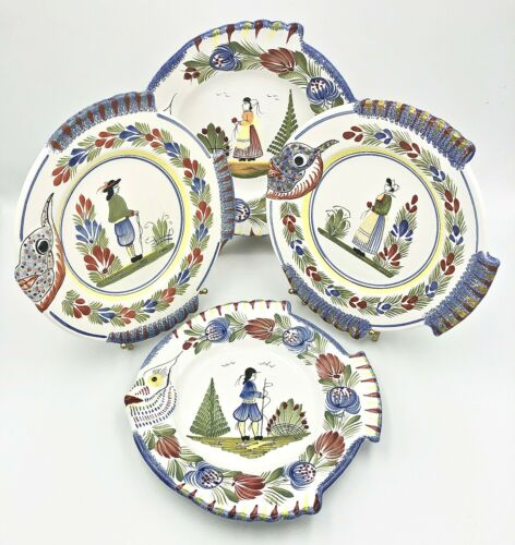 Set of 4 HB QUIMPER French Faience Round Fish Plates, France, EUC
