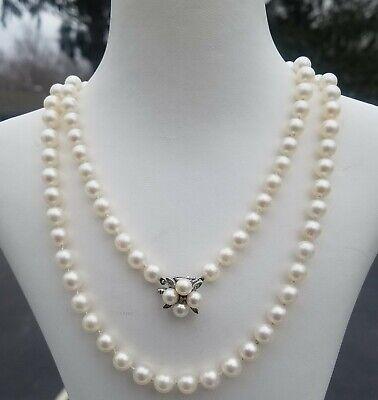 ESTATE 14K WHITE GOLD PEARL NECKLACE w/ DIAMOND ENHANCER CLASP-30 3/8