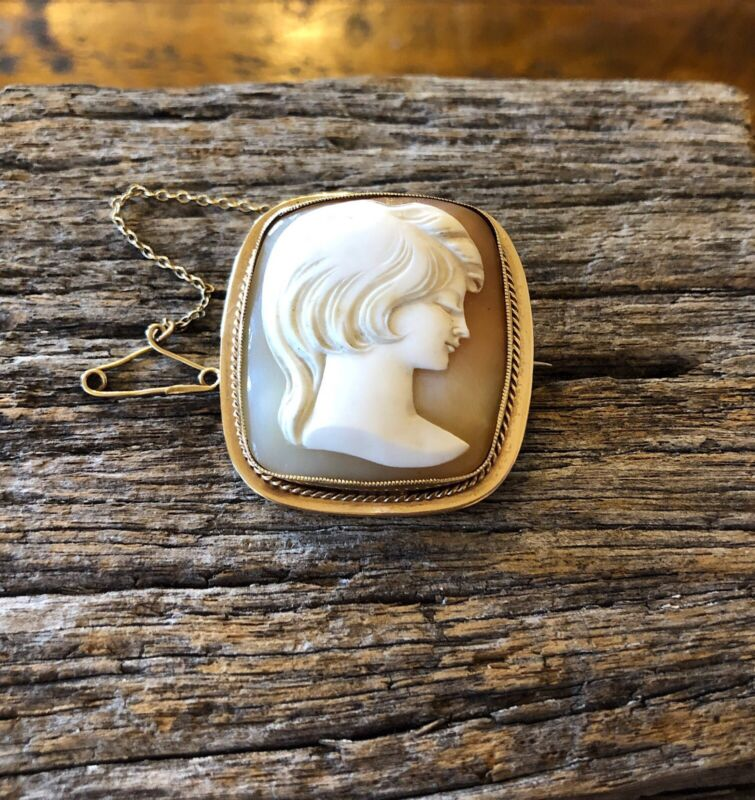 Large Vintage 9ct Solid Gold Brooch Carved Shell Cameo Woman Fine Jewellery