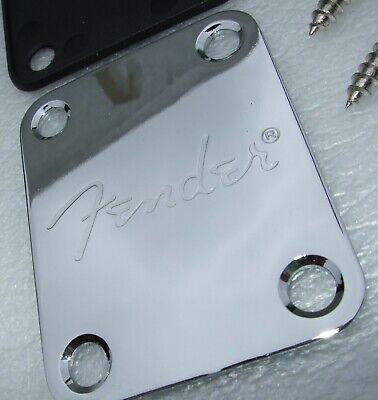 Guitar Neck Plate Stratocaster / Telecaster Chrome (With Logo) & 4 screws NEW