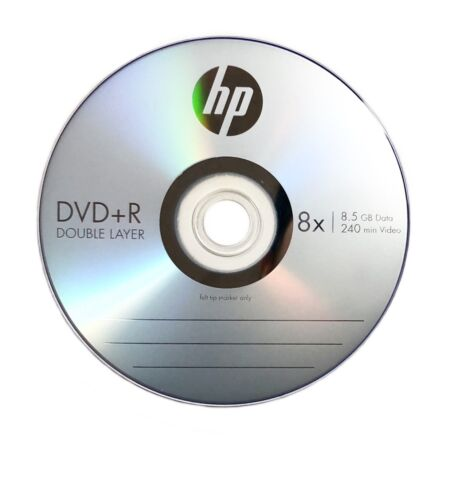 25 HP 8X Blank DVD+R DL Dual Double Layer 8.5GB Logo Branded in Sleeves