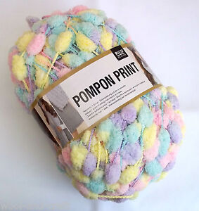 RICO DESIGN POMPON PRINT POMPOM SCARF YARN WOOL * 200G BALL ! * PINK MIX (25)