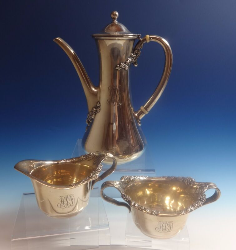 Blackberry by Tiffany & Co. Sterling Silver Demitasse Set 3pc (#0815)