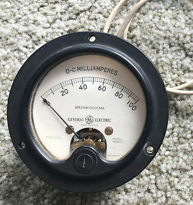 Vintage General Electric Ge Do-41 Dc 0-100 Microamperes Round Instrument Meter A