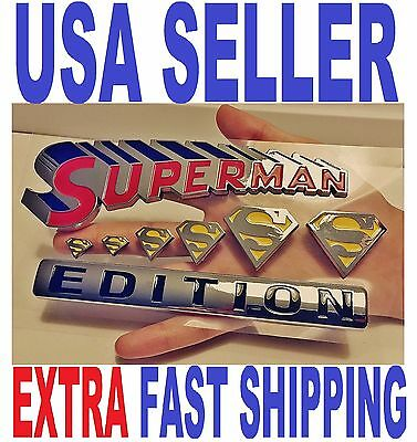 💯 SUPERMAN FAMILY 💎 Chrome 3D Auto Emblem Car Truck SUV Decal Logo Comics *NEW