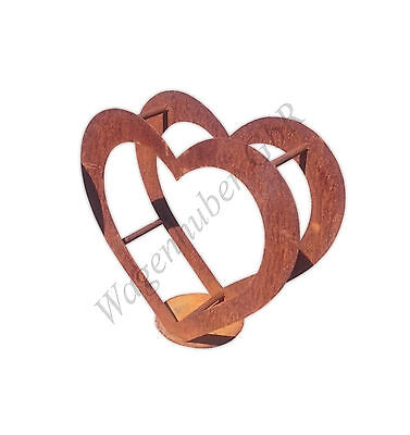 Herz aus Metall - Holz-Regal - Edel-Rost - Garten Terrasse - Deko - Groß ()