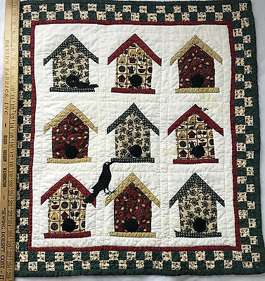 Handmade WALL HANGING applique patchwork BIRDHOUSES Hand Quilted 26.5 x 29.5""