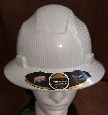 Hard Hat Hdpe Hydro-dipped-whitesilver Full-brim With Fas Trac Suspension