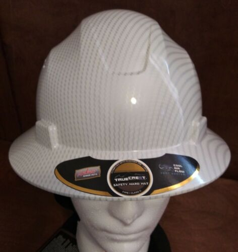 WHITE HARD HAT HDPE Hydro-Dipped-White/Silver Full-Brim with Fas trac Suspension