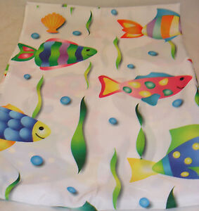 Tropical fish shower curtain colorful fabric adorable for Tropical fish shower curtain