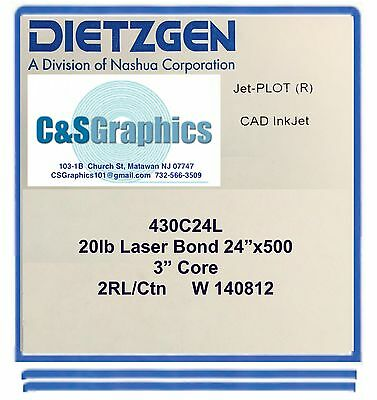 2 Rolls 24 X 500 20lb Bond Paper Wide Format Engineering Copier 3 Core