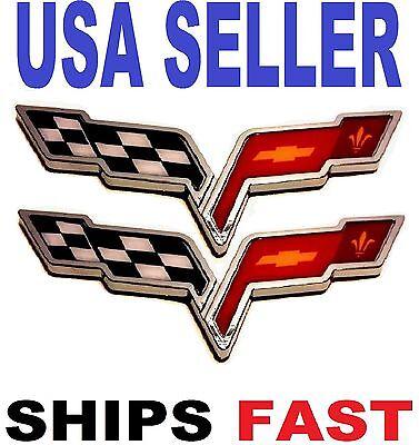X2 Cross Flags CORVETTE chevrolet CAR TRUCK EMBLEM LOGO DECAL SIGN CHROME Tr