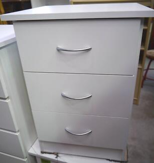 New White 3 Drawer Bedside Tables Bed Storage Unit Furniture Richmond Yarra Area Preview