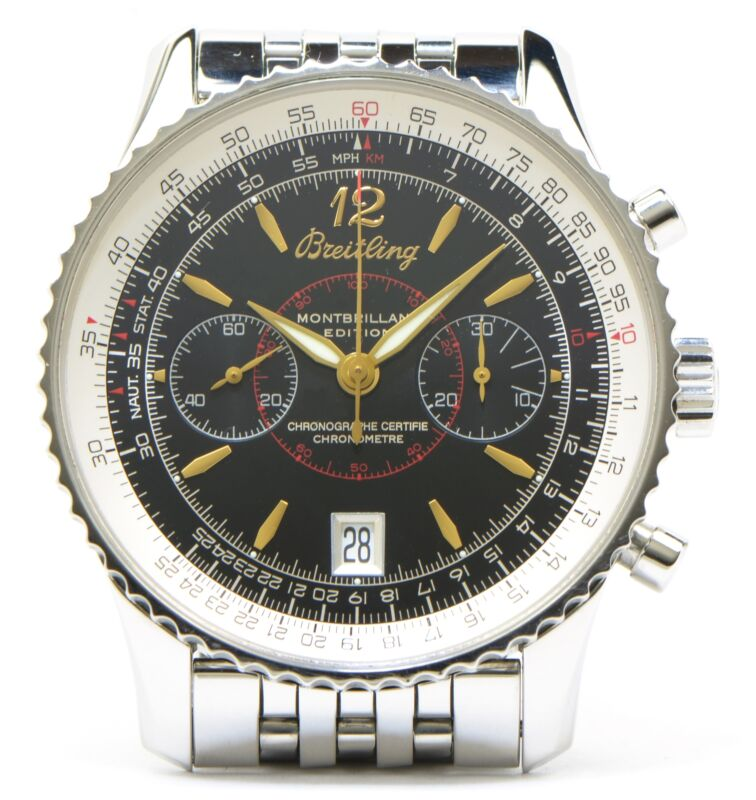 Breitling A48330 Montbrilliant Edition Mechanical Chronograph Black Dial 43mm