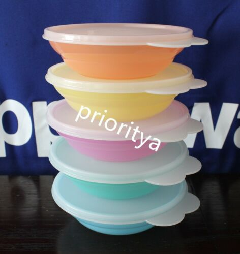 Tupperware Small Classic Cereal Bowl 360ml Each Set of 5 Sheer Seal New