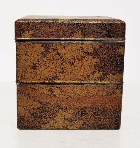 Fine Antique Japanese Lacquered 2 Tier Box Floral Gilt Decoration Lacquer