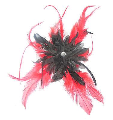 Tocado Negro y Rojo Pluma en Peineta, Bodas, Carreras, Mujer