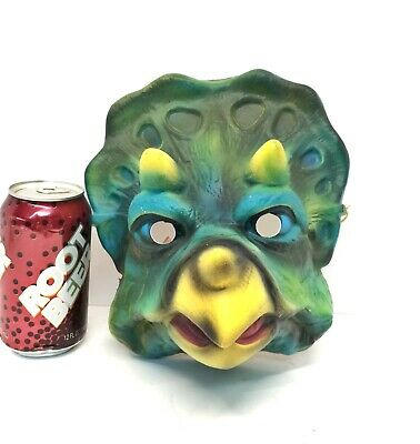 Vintage Animal Halloween Masks (Vintage 1980s Childrens Halloween Party Animal Mask DINOSAUR Triceratops)
