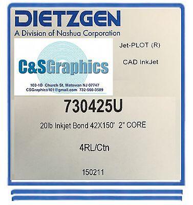 "4 ROLLS 42"" x 150' 20lb Inkjet Bond Plotter Paper HP DesignJet"