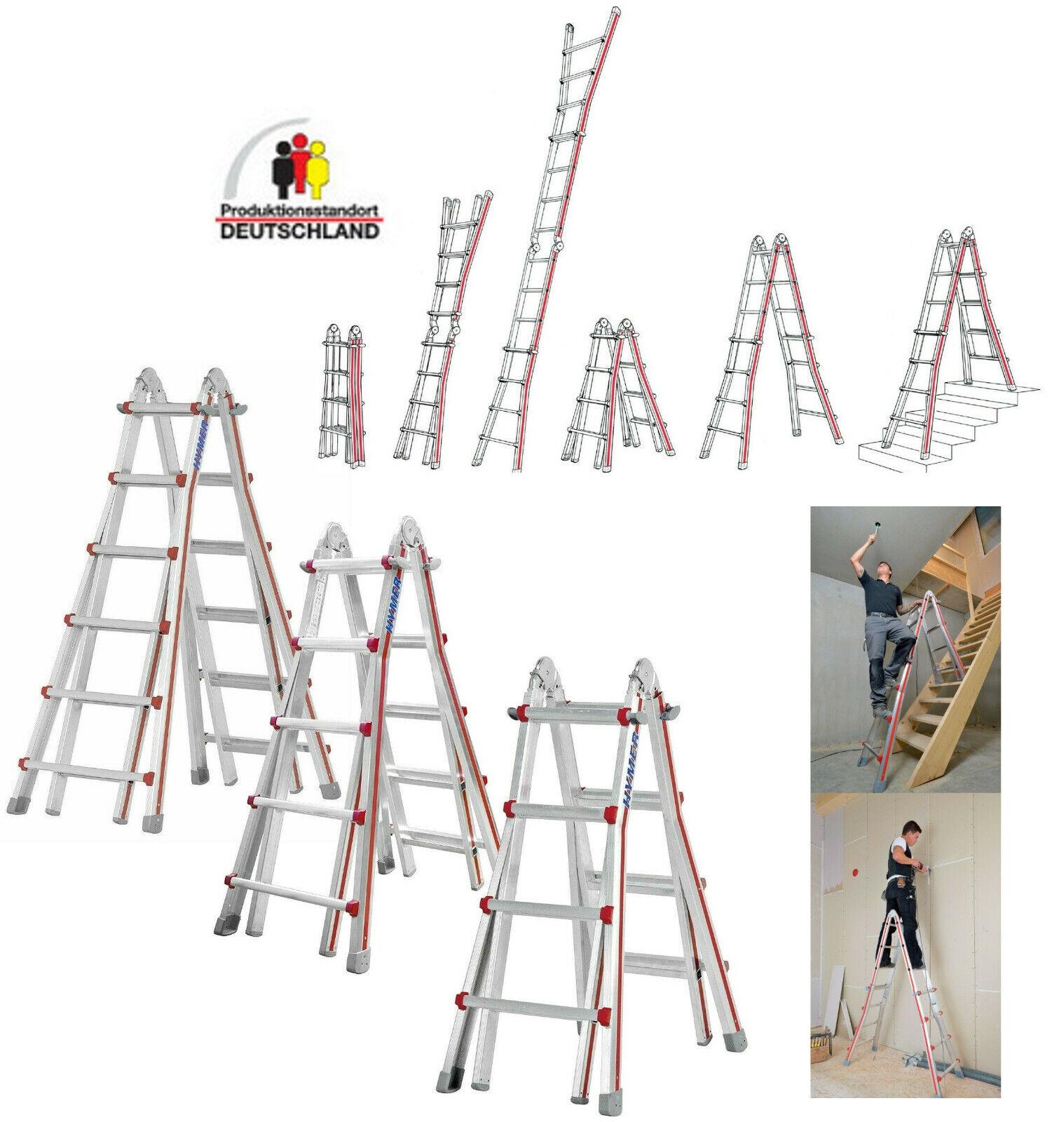 Hymer Alu Teleskopleiter Treppenleiter Anlegeleiter Mehrzweckleiter 4x4 4x5 4x6m