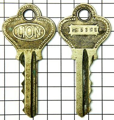 Lot Of 2 Vintage Lion Keys, Number H55355, Ornate Art Deco Design, Unique
