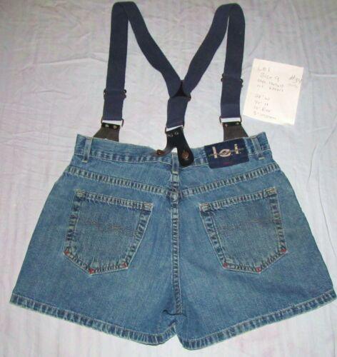 "Vintage Lei High Waist Denim Shorts w/ Suspenders SZ 9 28W 40H 10"" Rise 3"" IN"