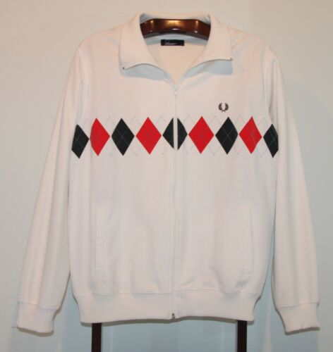 FRED PERRY WHITE ARGYLE TRAINING TRACK SUIT JACKET SIZE LARGE