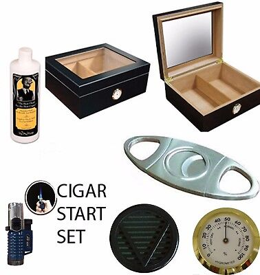 Black Finish Humidor - 50 ct CIGARS HUMIDOR GLASS TOP GIFT SET LIGHTER CUTTER Cedar lined BLACK finish