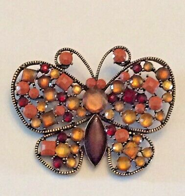 Vintage red, amber, and peach color acrylic rhinestone butterfly brooch Butterfly Ruby Brooch