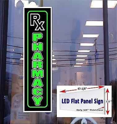Rx Pharmacy Led Illuminated Window Sign 48x12 Flat Panel Design