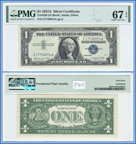 1957A $1 Silver Certificate Dollar PMG 67 EPQ Superb Gem Uncirculated Bank Note