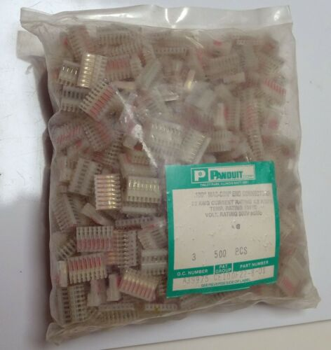 "500pc PANDUIT MAS-CON CE100F22-8-DS End Connectors .1"" 22 AWG 300V 4A AC/DC"