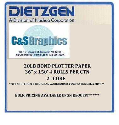 4 Rolls 36 X 150 20lb Bond Hp Designjet Plotter Paper