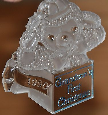 "1990 ""Grandson's First Christmas"" Acrylic HALLMARK Ornament w/box"