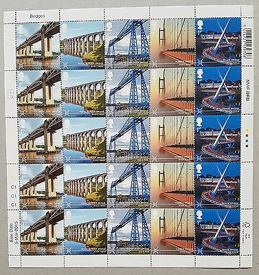 2015 - BRIDGES FIRST CLASS COUNTER SHEET OF 25 - TYNE BRIDGE