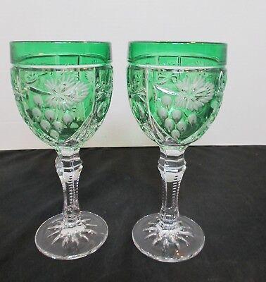Nachtmann 2 Crystal Water Goblets Green to Clear Starburst, Flower, Grape Design
