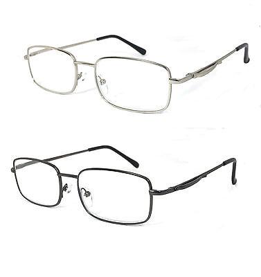 Retro Metal Frame Spring Hinges Pocket Clip Clear Lens Reader Reading Glasses