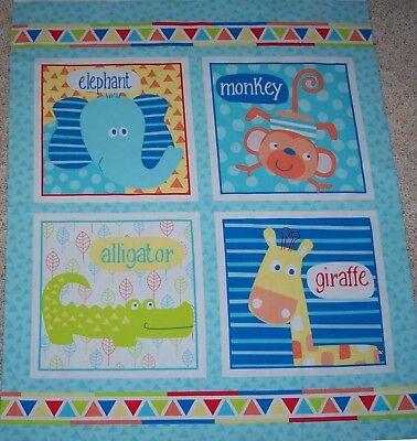 Swingin Safari Block Quilt top Panel Fabric 100% Cotton Elephant Monkey -