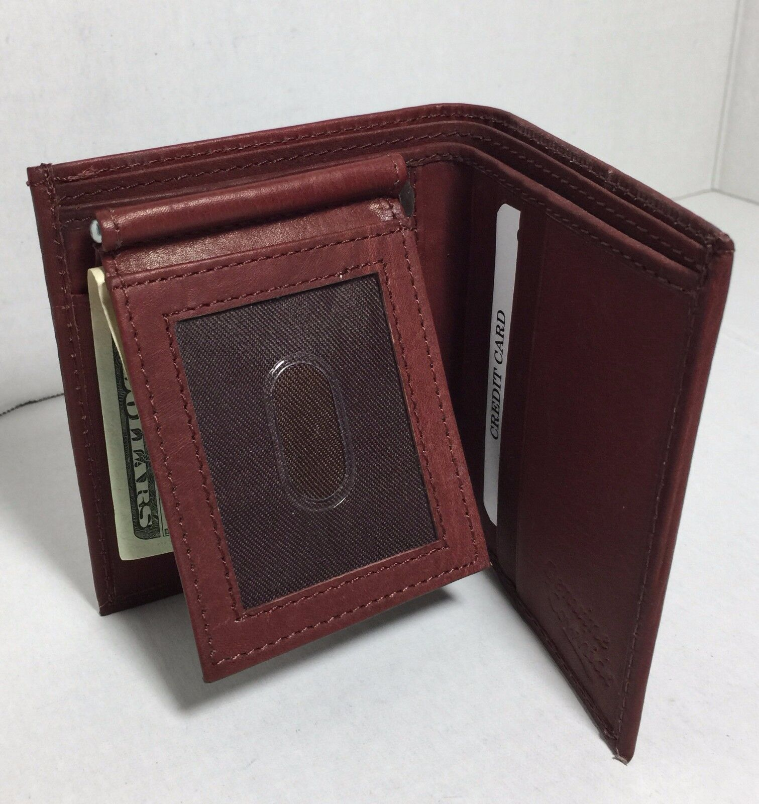 BRAND NEW MEN BROWN FLIP FOLD WALLET COWHIDE LEATHER WITH MO