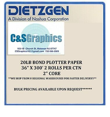 2 Rolls 36 X 300 20lb Bond Plotter Paper