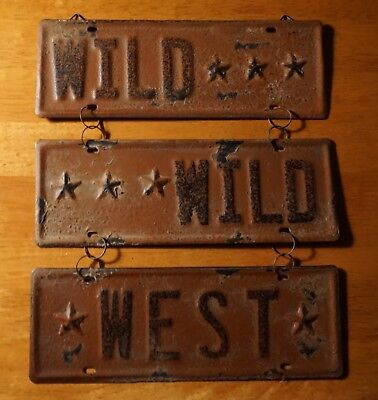 Rustic Country Primitive Vintage Style WILD WEST Hanging Sign Home Decor NEW