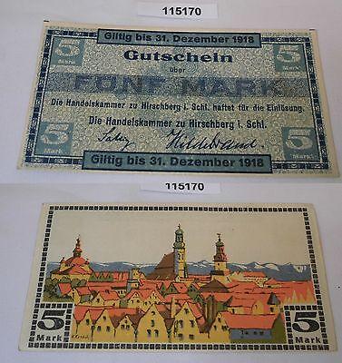 5 Mark Banknote Notgeld Handelskammer zu Hirschberg in Schlesien 1918 (115170)