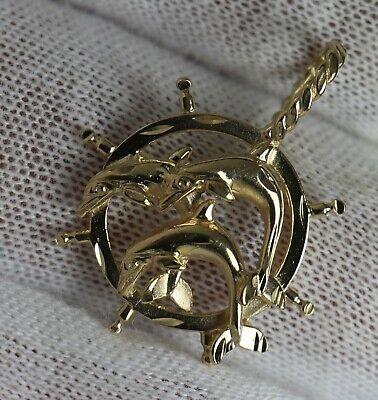 Dolphin Ships Wheel 14k Gold Pendant for Gold - Gold Ships Wheel Pendant