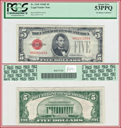 1928E Red Seal $5 Legal Tender Note PCGS 53 PPQ About Unc AU Five Dollars